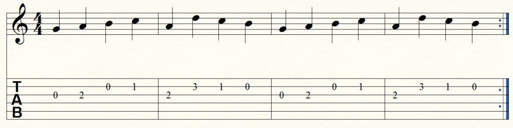ejercicio de guitarra para principiantes 4