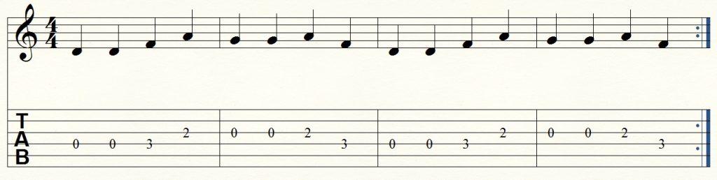 ejercicio de guitarra para principiantes 7