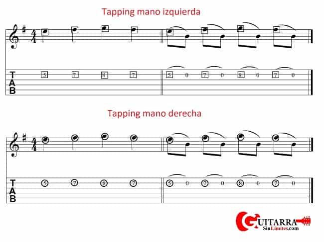 tapping en la guitarra mano derecha vs mano izquierda