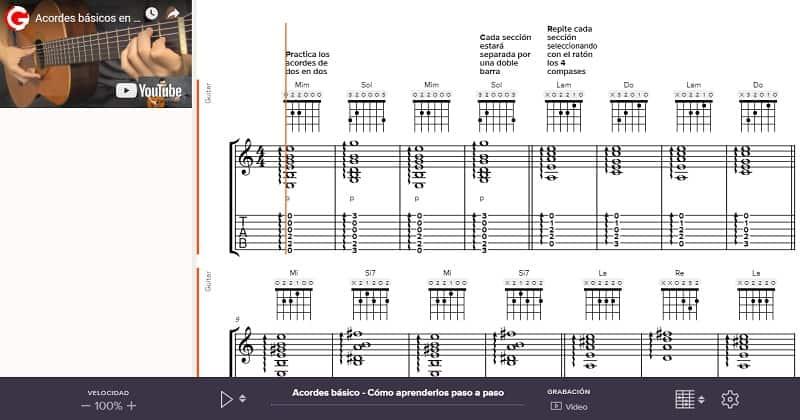 acordes básicos como tocarlos partitura interactiva